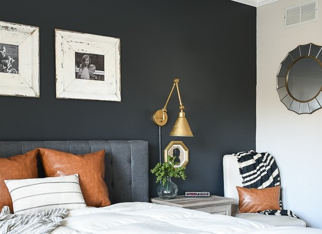 Little house of Four dark gray bedroom makeiver with gray painted accent wall
