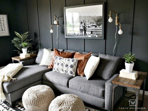 Taryn Whiteaker living room dark gray wall paint