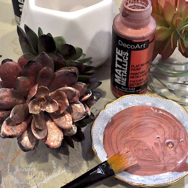 Painting faux succulents with matte metallic paint