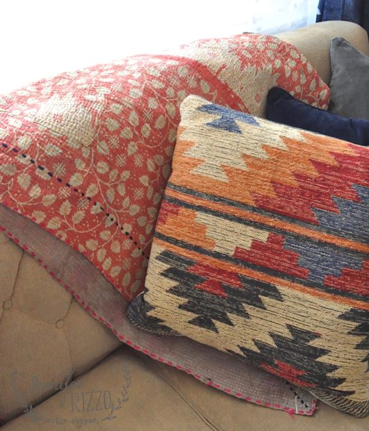 Vintage kantha blanket and pattern pillow for #bohodecor