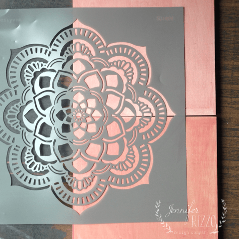 Add mandala stencil to stained wood boards for DIY stenciled wood art