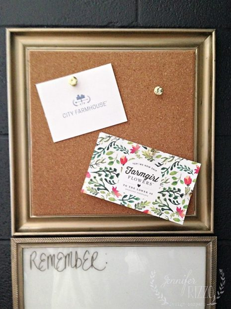 DIY message center with a picture frame and cork board