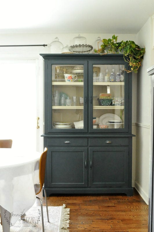 Hutch painted with deep, dark green paint for a complete painted furniture makeover. #darkgreenpaintcolor