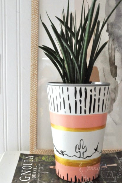 Hand painted boho vase with multi-surface paint