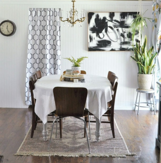 Small MCM dining room and abstract art