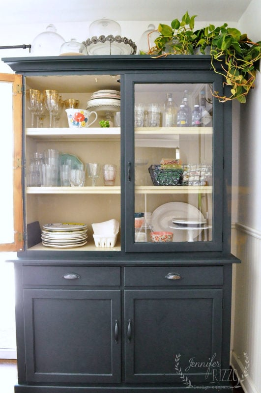 Inside of hutch with dark green paint color by Benjamin Moore