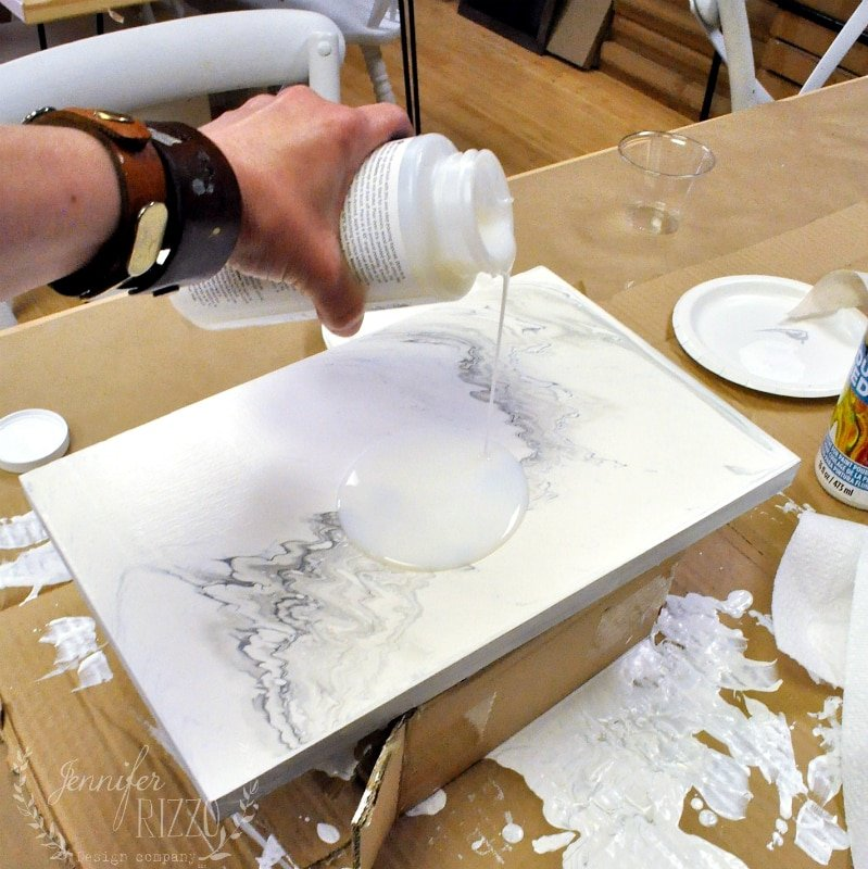 Adding the Top Coat on a Faux Marble Table