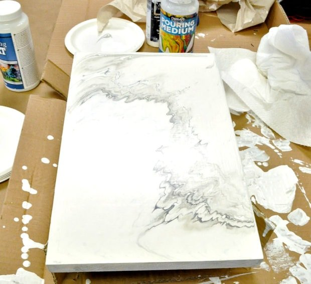 Let faux marble sit on a flat surface for 24 hours until dry