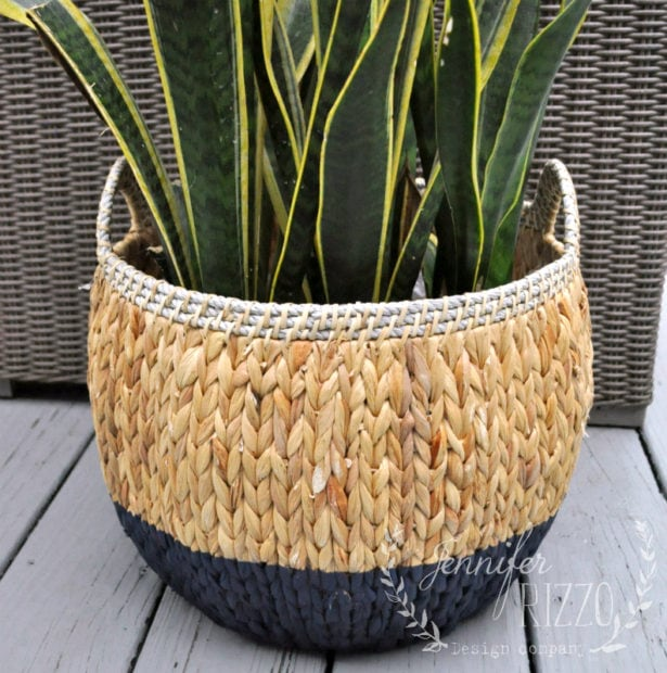 Easy Boho dip-dyed spray painted basket DIY