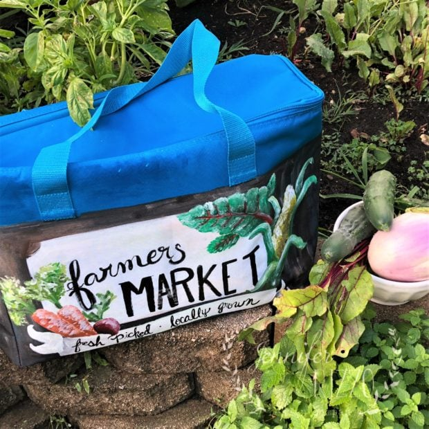 Paint a custom farmers market cooler bag to keep your veggies fresh