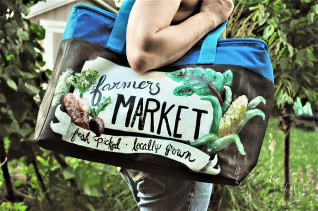 Hand painted farmers market cooler with veggies on it