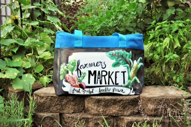 Farmers market cooler tote painted with Stylin' paints