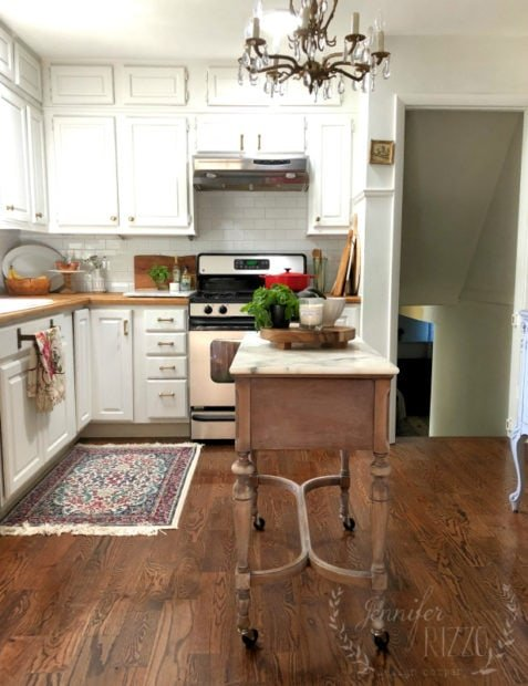 $100 Kitchen Island Idea- Repurposed Sewing Table