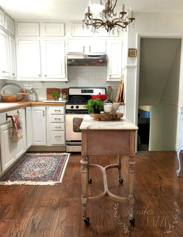 $100 Kitchen Island Idea- Repurposed Sewing Table - Jennifer ...
