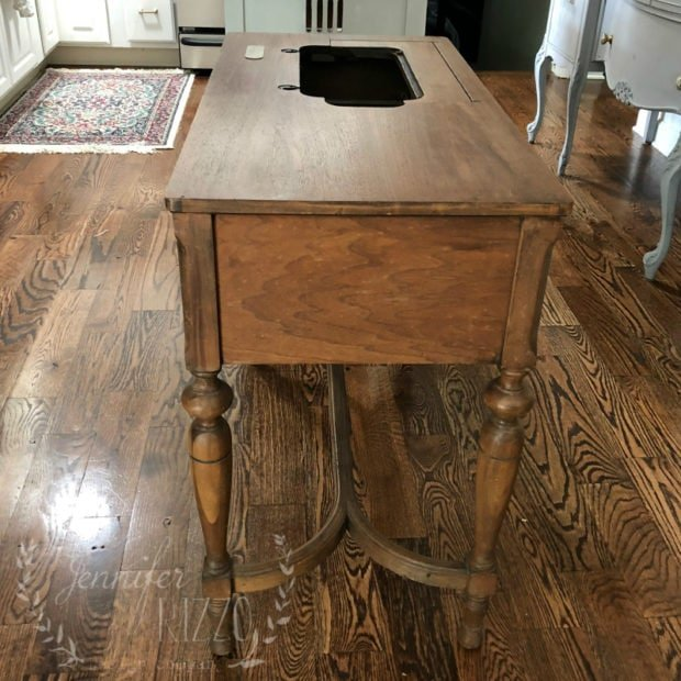 Antique sewing table repurposed into a kitchen Island Jennifer Rizzo