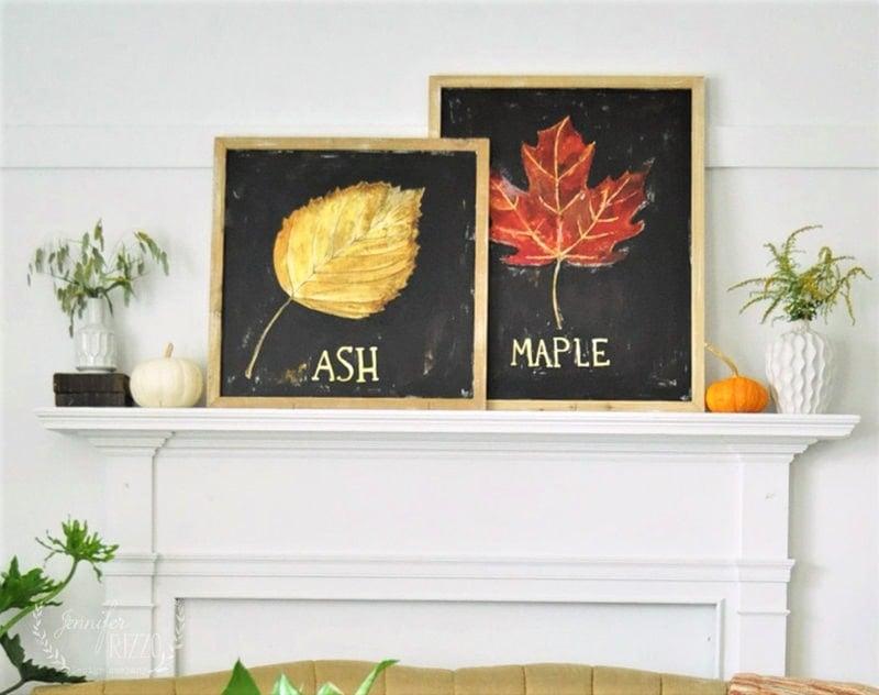 Hand-painted fall art on the mantel by Jennifer Rizzo