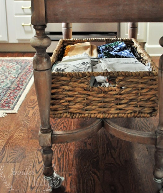 basket under kitchen island for storage