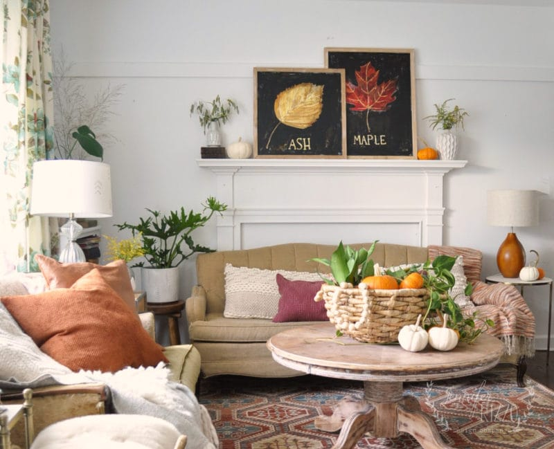 A Simple Fall Boho Living Room with Hand-Painted Fall Art