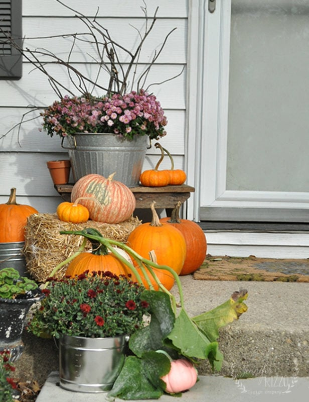Jennifer Rizzo Fall front step decorated with pumpkins