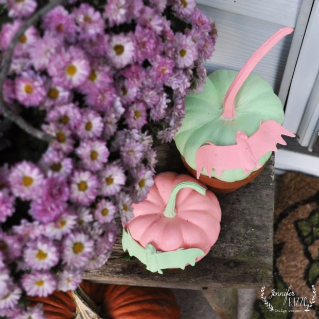 Fun pastel pumpkins with bats
