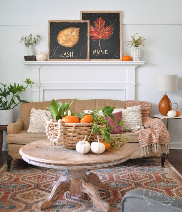 Fall living room with Hand-painted fall art, and plants for decor Jennifer Rizzo