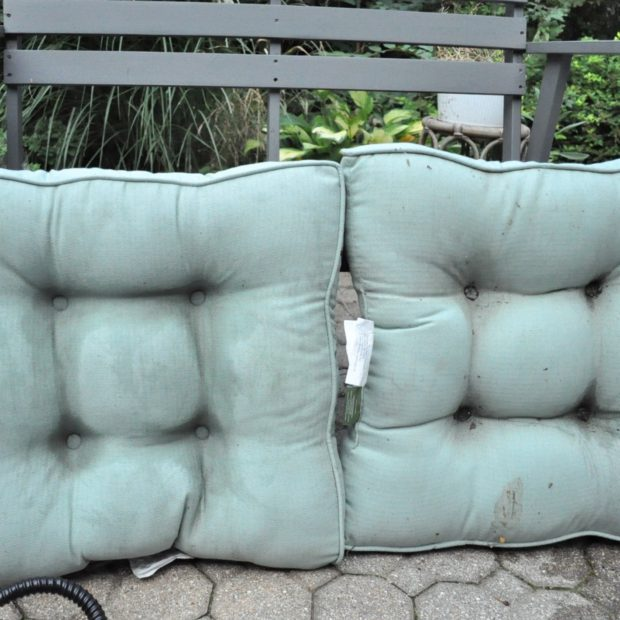 Side by side comparison of steam cleaned outdoor cushions for the winter