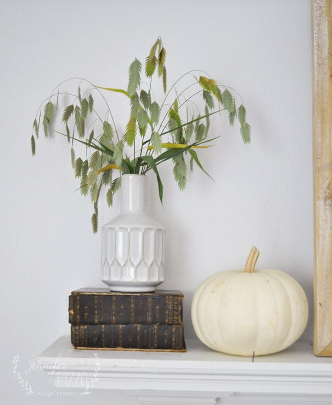 Grasses and pumpkins as simple fall decor