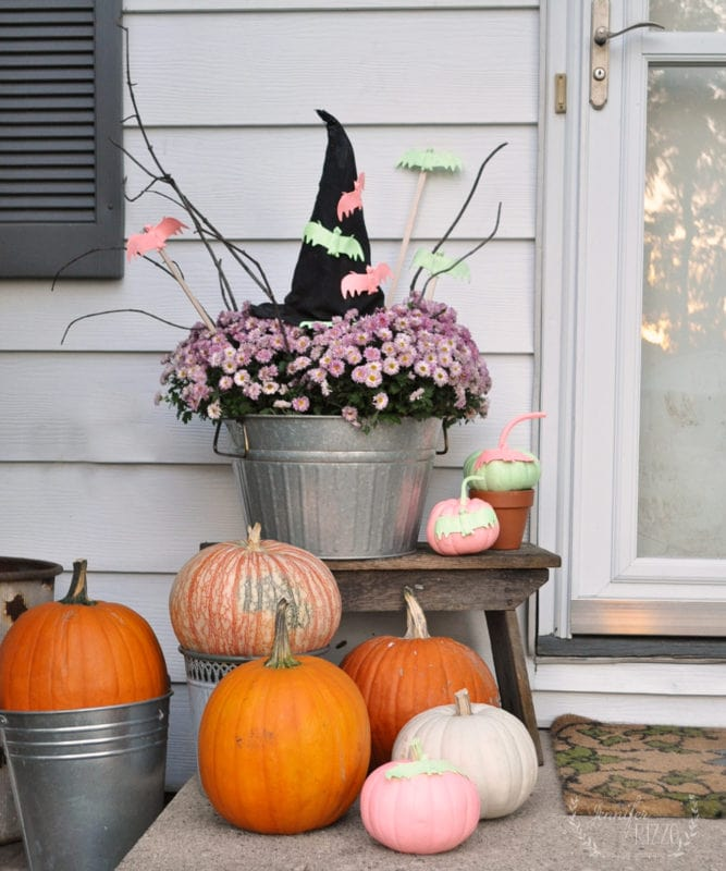 DIY witches hat and a pastel front step Halloween decorating idea