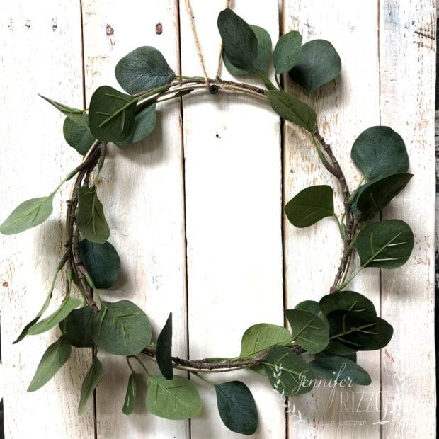Faux eucalyptus wreath DIY on a macrame ring Jennifer Rizzo