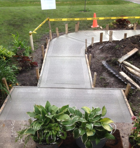 Fresh concrete front walk