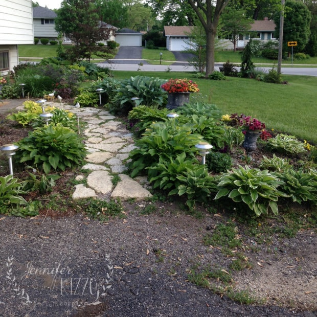 Front walk with flagstone before renovation