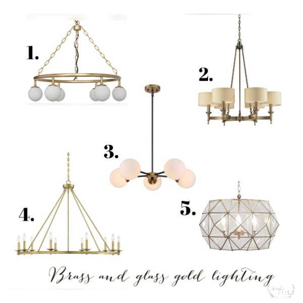 Current gold and brass lighting styles