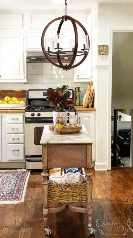 Jennifer Rizzo Kitchen with farmhouse style globe