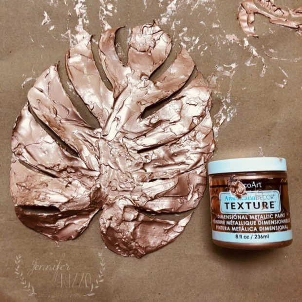Metallic Texture Paint Leaf DIY Art