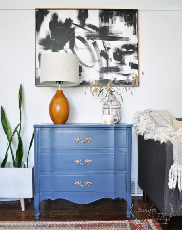Gray Painted Dresser Makeover before and after. A vintage dresser like this cleans up so well!