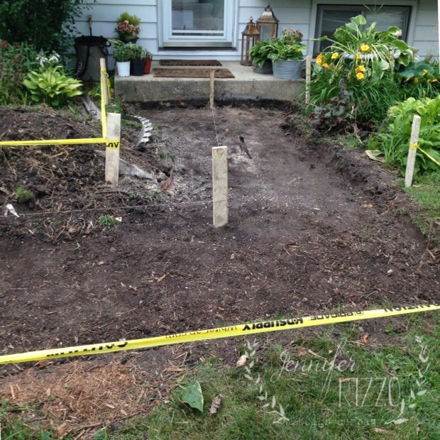 Digging up an old front walk and putting in concrete