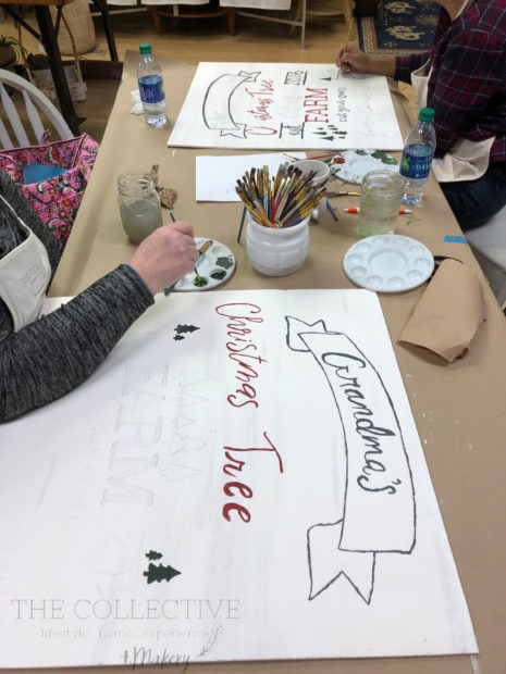 Painting a DIY Christmas Tree Farm Holiday Sign at The Collective lhe and Makery