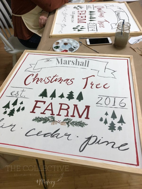 Paint a Christmas tree farm sign