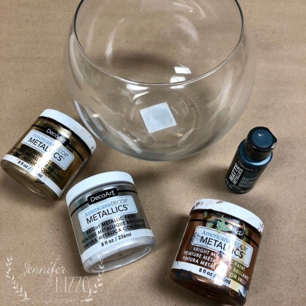 Materials for an ombre glass globe DIY