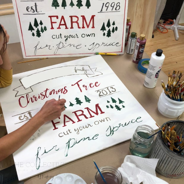 Diy holiday tree farm signs are fun to paint