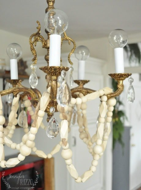 Wood bead garland on vintage chandelier