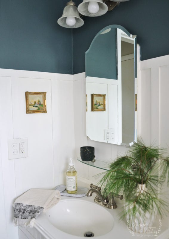 Jennifer Rizzo Dark Green Bathroom walls with blue undertones Benjamin Moore Paint color