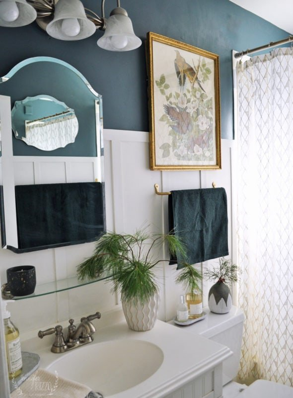 Bathroom makeover with dark green blue walls for on trend paint colors for 2019 Benjamin Moore Calico Blue