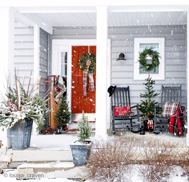 Welcoming holiday front porch