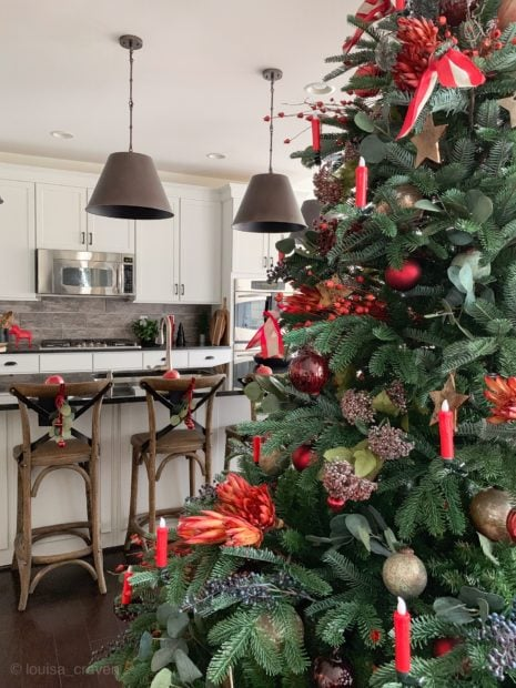 Christmas kitchen with cone lights over island