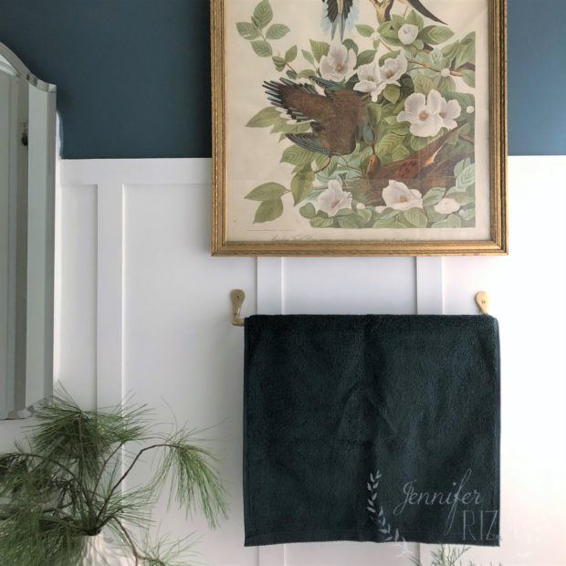 On trend paint colors for 2019, dark green bathroom, Jennifer Rizzo