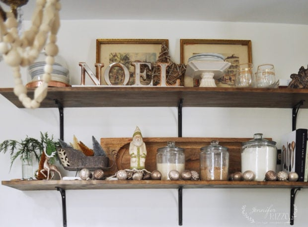 Open kitchen shelving holiday styling ideas