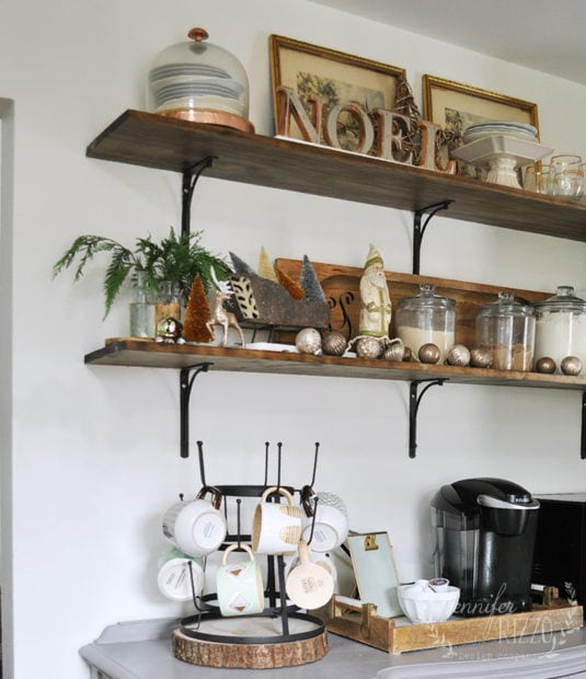 Open kitchen holiday shelving idea