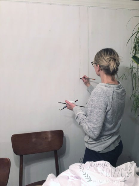 Painting a birch tree mural as wallpaper on wall Jennifer Rizzo