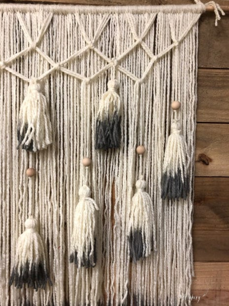 Upclose of Dip-Dyed tassels from a yarn wall hanging